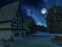 Haunted Village. Environment with full moon and cloudy sky Stock Images