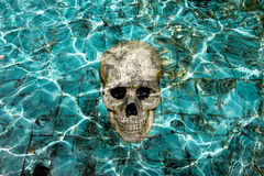 Haunting pool with skull. Humen Stock Photo
