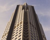 Haupt-Building Located bei 801 großartiger Allee in Des Moines, Iowa von unterhalb stockfoto