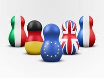 Haupt-EU-Mitglieder in der Form von Verschachtelungspuppen. Vektor. Stockbild