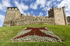 Haupt- oder Haupteingang von Templar-Schloss in Ponferrada, das Bierzo Lizenzfreies Stockfoto