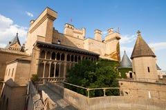 Hauptansicht des Schlosses Olite, Navarre Stockfotos