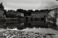 Hauptbadekurort-Pool Bagno Vignoni lizenzfreies stockbild