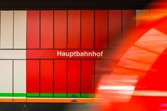 Hauptbahnhof German Train Station Sign Red Motion Blur Wagon Pas Royalty Free Stock Photography