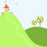 Hauptbaum-Frühlings-Hintergrund-Himmel-Haus-Hügel-Garten-Blumen-reizende Dorf-Land-Vektor-Illustration Stockfotografie