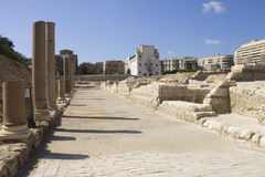 Haupteingang zum Alexandria-römischen Theater Lizenzfreies Stockfoto