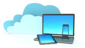 Hauptelektronische geräte angeschlossen an Wolkenserver Lizenzfreie Stockfotos