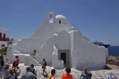 Hauptfassade der Kirche von Paraportiani in Chora-Insel von Mikonos Arte History Architecture Stockbilder