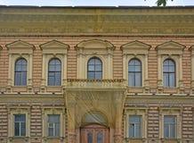 Hauptfassade der Villa des Barons Shtiglits in St Petersburg, Russland Lizenzfreies Stockfoto