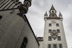 Hauptfassade von alten M?nchenRathaus, Deutschland stockbild