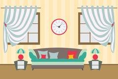 Hauptflaches Vektorinnendesign Raum für Arbeit entspannen sich Stockfotos