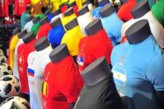 Hauptfußballhemden der Fußball-Weltmeisterschaft Russland 2018 Teams Lizenzfreie Stockfotos