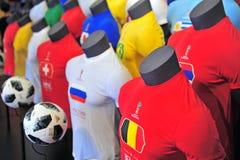 Hauptfußballhemden der Fußball-Weltmeisterschaft Russland 2018 Teams Stockfotos