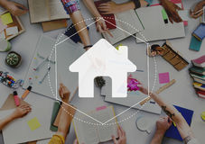 Hauptgemeinschaftson-line-Technologie-Grafik-Konzept Lizenzfreie Stockbilder