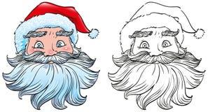 Hauptgesicht von Santa Claus in einem roten Hut mit weißem Pelzsymbol des neuen Jahres Stockfoto