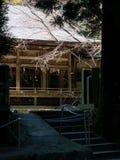 Haupthalle historischen Kokuzo-Schreins in vulkanischem Kessel Aso, Teil Nationalparks Aso-Kuju lizenzfreie stockbilder
