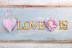 Haupthintergrund der blauen hölzernen Liebe Stockbilder