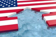 Hauptikone gemasert durch USA-Staatsflagge im Ozean Lizenzfreie Stockbilder