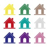 Hauptikonen, verschiedene Hausikonen für Internet, Vektor, homepage Lizenzfreies Stockbild