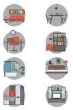 Hauptinnenarchitektur-Ikonen Auch im corel abgehobenen Betrag Stockfotos