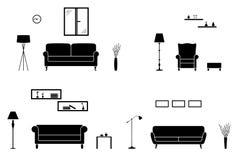 Hauptinnenikonensatz Schwarzweiss-Wohnzimmerschattenbild lizenzfreie abbildung