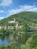 Hauptleitung Gemuenden morgens, Spessart, Bayern, Deutschland Lizenzfreies Stockfoto