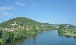 Hauptleitung Gemuenden morgens, Spessart, Bayern Deutschland Lizenzfreies Stockfoto
