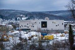 Hauptleitung Lohr morgens, Deutschland - Baustelle von neuen Rathaus Stockfoto