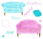 Hauptmöbel Hand gezeichneter Satz mit Sofa oder Diwan Stockbilder