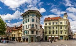 Hauptmanns hus på den Preseren fyrkanten i Ljubljana, Slovenien Arkivfoto