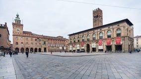 Hauptplatz in Bolognastadt Marktplatz Maggiore Lizenzfreie Stockfotografie