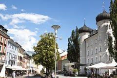 Hauptplatz och cityhall, Lienz, Österrike Arkivfoto