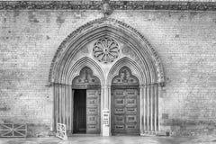 Hauptportal der Basilika des Heiligen Franziskus, Assisi, Italien Lizenzfreie Stockfotografie