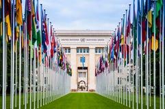 Hauptquartier Büro der Vereinten Nationen in Genf, die Schweiz Lizenzfreie Stockfotografie