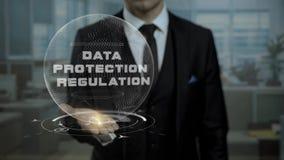 Hauptrechtsanwalt, der Daten-Schutz vorgeschriebenes Konzept auf Konferenz darstellt stock video