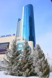 Hauptsitze der Eisenbahngesellschaft KASACHSTAN TEMIR ZHOLY in Astana im Winter stockbild