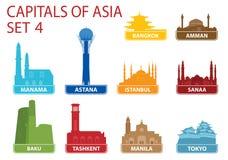 Hauptstädte von Asien Lizenzfreie Stockbilder