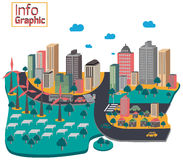 Hauptstadt der grünen und sauberen erneuerbarer Energie mit Gebäuden, Stockfoto