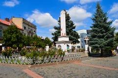 Hauptstadtstraße in Mukachevo, Ukraine am 14. August 2016 Lizenzfreie Stockfotos