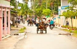Hauptstraße mit Pferdewarenkorb für touristischen Transport auf dem Sein Lizenzfreies Stockbild