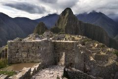 Haupttor von Machu Picchu, die verlorene Inkastadt in Peru Stockfotografie