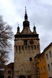 Hauptturm von trhe Festung Ansicht der mittelalterlichen Stadt Sighisoara Lizenzfreie Stockfotos