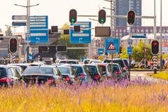 Hauptverkehrszeit in Amsterdam, die Niederlande Lizenzfreies Stockbild