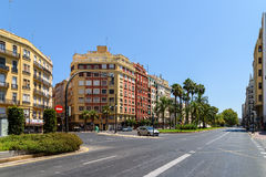 Hauptverkehrszeit in der im Stadtzentrum gelegenen Mitte von Valencia City Lizenzfreie Stockbilder