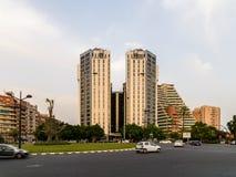 Hauptverkehrszeit in der im Stadtzentrum gelegenen Mitte von Valencia City Stockbild