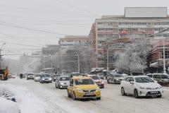 Hauptverkehrszeit im Winter Lizenzfreie Stockbilder