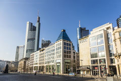 Hauptwache Pplaza and modern skyscarpes in Frankfurt am Main, Ge Royalty Free Stock Image