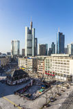 Hauptwache Pplaza and modern skyscarpes in Frankfurt am Main, Ge Stock Image