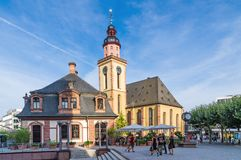 Hauptwache and St. Catherine's Church. Stock Image