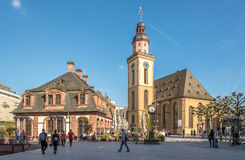 Hauptwache with St.Katherine church in Frankfurt am Main. FRANKFURT AM MAIN, GERMANY - MARCH 30,2017 - Hauptwache with St.Katherine church in Frankfurt am Main Stock Photos